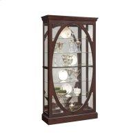 Oval-Framed Sliding 5 Shelf Curio Cabinet in Sable Brown Product Image