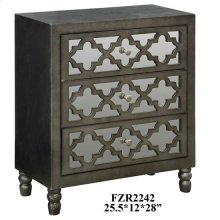 Avery 3 Mirrored Drawer Silver Leaf Chest w/ Gun Metal Finish