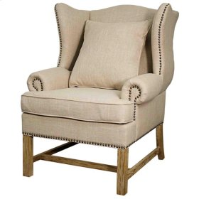 Ellery Fabric Accent Chair Brushed Smoke Legs, Flax