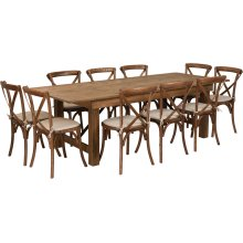 8' x 40'' Antique Rustic Folding Farm Table Set with 10 Cross Back Chairs and Cushions