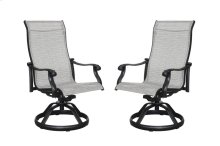 Emerald Home Versailles Outdoor Sling Swivel Chair-grey Cover-onyx Cast Aluminum Frame-od1045-26