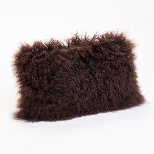 Lamb Fur Pillow Rect. Dark Brown