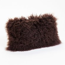 Lamb Fur Pillow Rect. Dark Brown