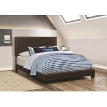 Dorian Black Faux Leather Upholstered Queen Bed