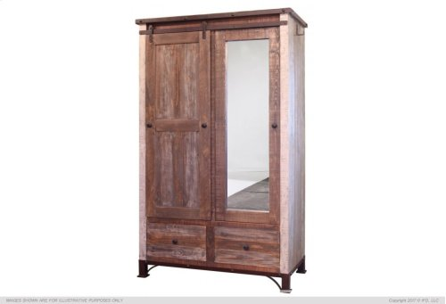 2 Drawer, 1 Sliding door, 1 Mirror Door Armoire