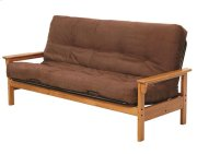 Heartland Open Arm Futon Frame with options: Honey Pine, Mattress Included Product Image