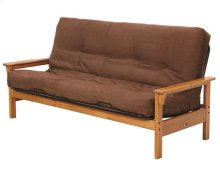 Heartland Open Arm Futon Frame with options: Honey Pine, Mattress Included
