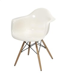 Arturo White Acrylic Chair with Wood Leg
