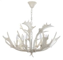Birch 30-inch Dia Antler Chandelier - White