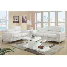 Pure White Modern Sofa and Love Seat with Chrome Legs