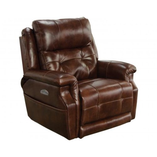 Power Headrest Power Lay Flat Recliner w/ Extended Ottoman - Walnut