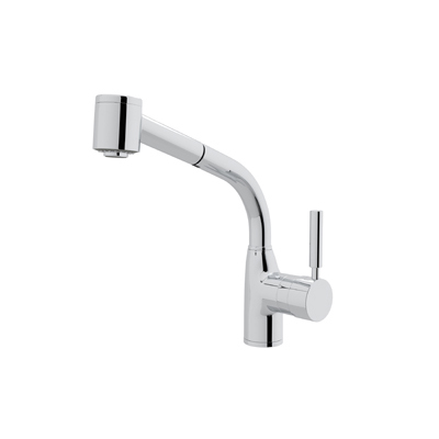 Polished Chrome Modern Lux Side Lever Pull-Out Kitchen Faucet with Modern Lux Metal Lever