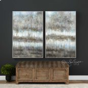 Gray Reflections Hand Painted Canvas