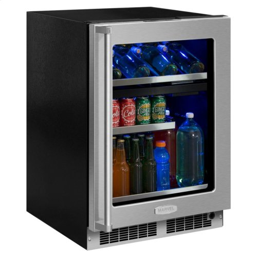 """Marvel Professional 24"""" Dual Zone Wine and Beverage Center - Stainless Frame, Glass Door With Lock - Integrated Left Hinge, Professional Handle"""