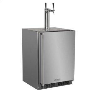 "MarvelOutdoor 24"" Twin Tap Built In Beer Dispenser - Marvel Refrigeration - Solid Stainless Steel Door With Lock - Right Hinge"