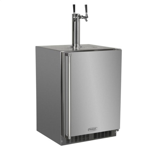 "Outdoor 24"" Twin Tap Built In Beer Dispenser - Marvel Refrigeration - Solid Stainless Steel Door With Lock - Right Hinge"