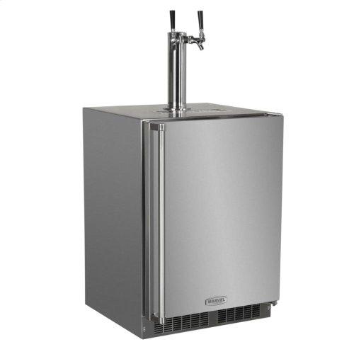 "Outdoor 24"" Twin Tap Built In Beer Dispenser - Marvel Refrigeration - Solid Stainless Steel Door With Lock - Right Hinge"