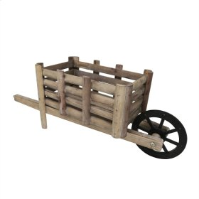 Wooden Decorative Whell Barrow, Brown