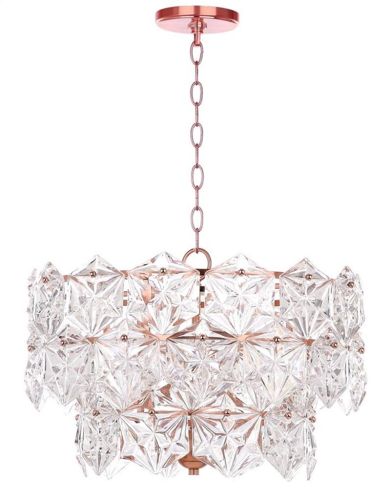 Sia 4 Light 19-inch Dia Adjustable Pendant - Clear / Copper Shade Color: Clear