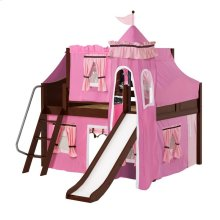 Low Loft Bed with Angle Ladder, Slide, Tower, Top Tent & Curtain : Full : Chestnut : Curved