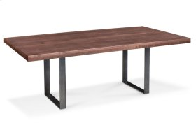 """Ironwood Trestle Table, Ironwood Trestle Table, 42""""x84"""", Solid Top, Black Base"""
