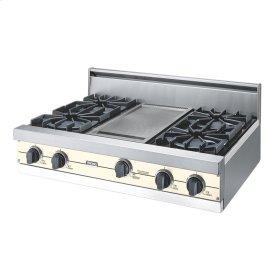 """Biscuit 36"""" Open Burner Rangetop - VGRT (36"""" wide, four burners 12"""" wide griddle/simmer plate)"""