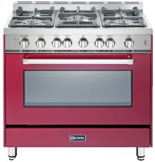 "36"" Gas Single Oven Range Burgundy 4"" B/G"