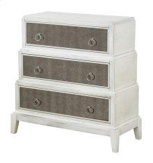 Gabrielle 3 Drawer White Wash and Mirror Stacked Chest