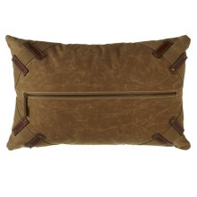 Antique Canvas Pillow with Center Zipper and Faux Leather Accents