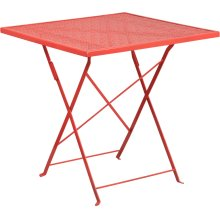 28'' Square Coral Indoor-Outdoor Steel Folding Patio Table
