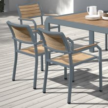 Armen Living Minsk Outdoor Patio Dining Chair in Gray Powder Coated Finish and Teak Wood - Set of 2