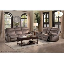 Double Reclining Sofa with Center Drop-Down Cup Holders, Receptacles, Hidden Drawer and USB Ports