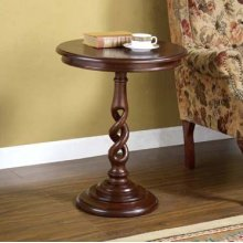 """Brown Cherry"" Pedestal Accent Table"