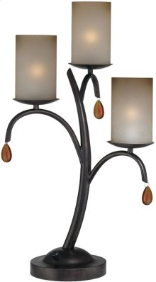 3 Lites Table Lamp - Dark Bronze/glass Shade, E12 B 40wx3