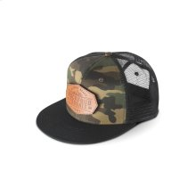 Camo Hat w/ Black Bill and Removable Velcro Patch