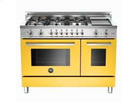 48 6-Burner + Griddle, Electric Self-Clean Double Oven Yellow
