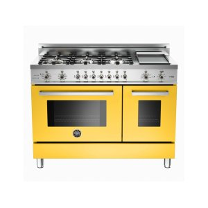 Bertazzoni48 6-Burner + Griddle, Electric Self-Clean Double Oven Yellow
