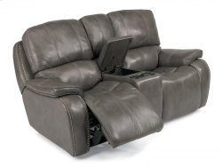 MacKay Leather Power Reclining Loveseat with Console Product Image