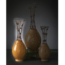 Medium Vine Metal & Ceramic Vase