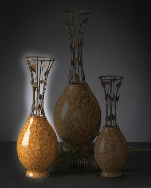 Medium Vine Metal & Ceramic Vase