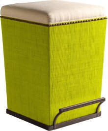 Ecru Fabric Purveyor Counter Stool in Lime Finish