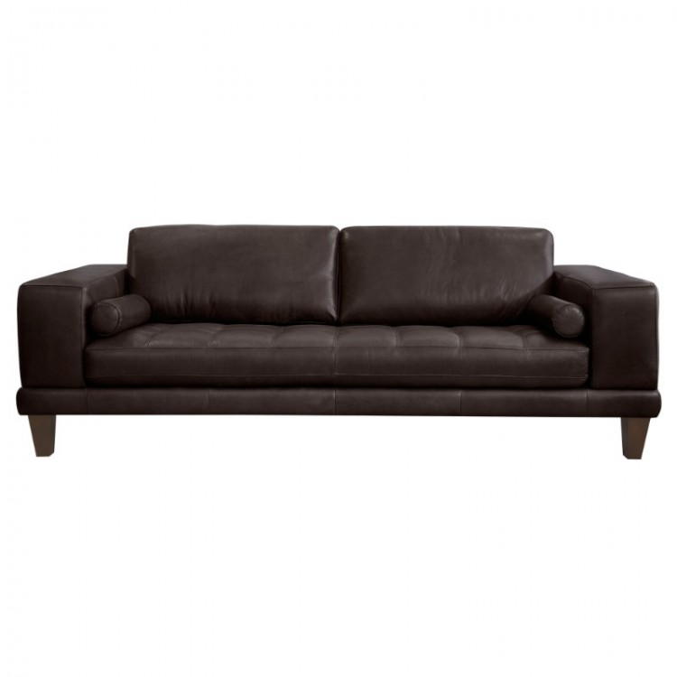 Armen Living Wynne Contemporary Sofa in Genuine Espresso Leather with Brown Wood Legs