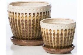 White/Chocolate Cloquer Petits Pots with Attached Saucer - Set of 2