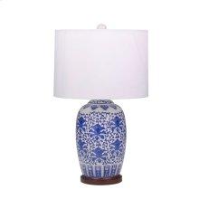 "Ceramic Oriental Table Lamp 25"", Blue/white"