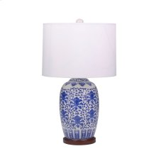 "Ceramic Oriental Table Lamp 25"", Blue/white"