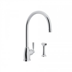 """Polished Chrome Perrin & Rowe Holborn Single Hole Kitchen Faucet With """"C"""" Spout And Sidespray with Contemporary Metal Lever"""