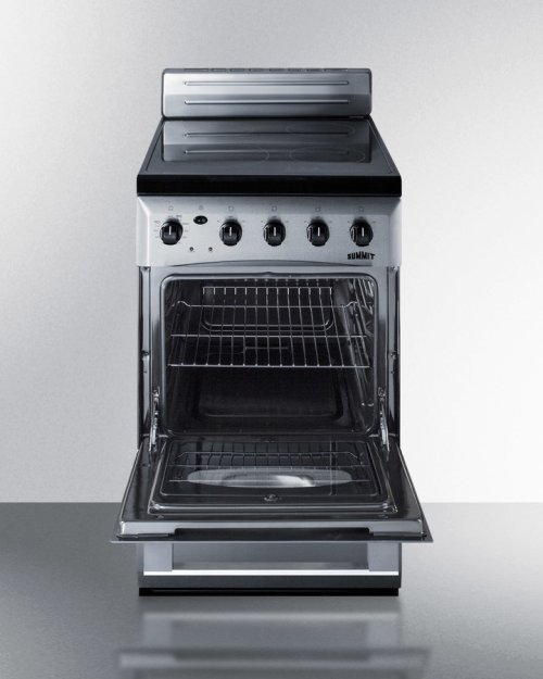 """RED HOT BUY! 20"""" Wide Value Line Smooth-top Electric Range In Stainless Steel With Oven Window and Lower Storage Drawer"""