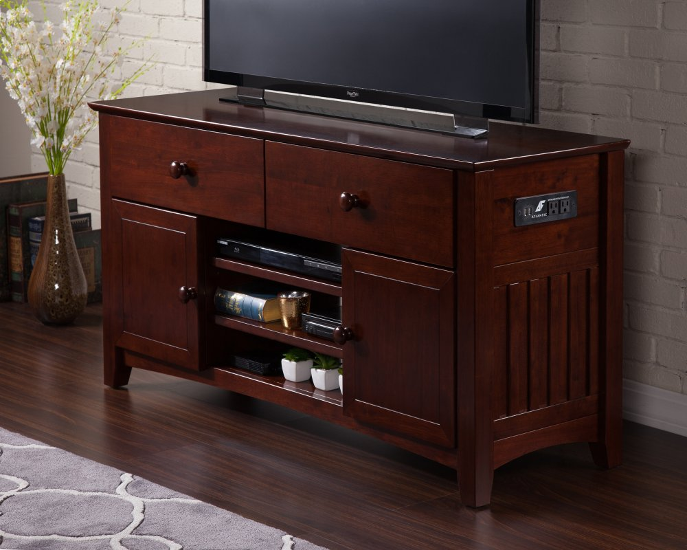 Ordinaire Mission 2 Drawer 50 Inch Entertainment Console With Adjustable Shelves And Charging  Station In Walnut. Atlantic Furniture Logo