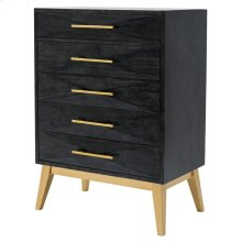 Leonardo KD Cabinet 5 Drawers Gold Legs, Black Wash *NEW*