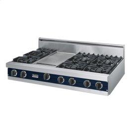 """Viking Blue 48"""" Open Burner Rangetop - VGRT (48"""" wide, six burners 12"""" wide griddle/simmer plate)"""